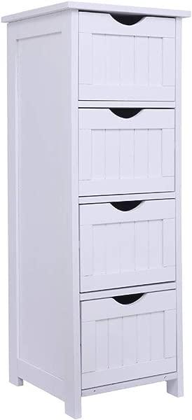 Bonnlo 浴室组织者和收纳木质侧浴室柜,带 4 个抽屉独立柜白色浴室卧室客厅走廊 11 13 16X32 3 8