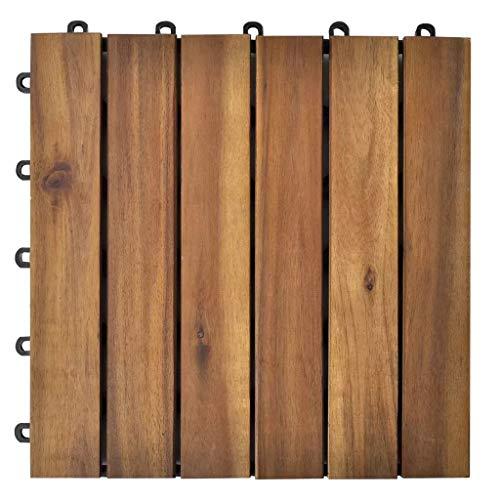Juego de 20 Baldosas de jardín, Baldosas de Madera de Acacia Durable y Antideslizante, Baldosas para Terraza, Balcón, Suelo Exterior 30 x 30 x 2,4cm