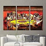 Gyybfhn 3 Piezas Lienzo Pintura,Impresiones En Lienzo 3 Piezas/Set,Moderno Pared Cuadros Decoración del Hogar Sala Estar Dormitorio,Regalo Creativo,50x70x3 (Marco) Perros Jugando Al Póquer Pintura