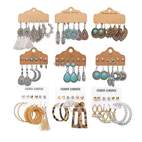 45 Pairs Vintage Hollow Drop Dangle Earrings Set Women Bohemian National Style Earrings Dangler with Turquoise Sun Flower Tassel Acrylic Jewelry for Teen Girls