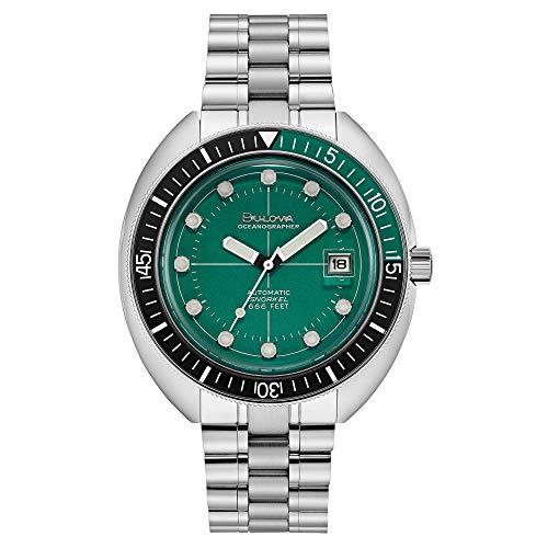 Bulova Special Edition Oceanographer Reloj de pulsera automático de acero inoxidable con esfera verde 96B322 para hombre