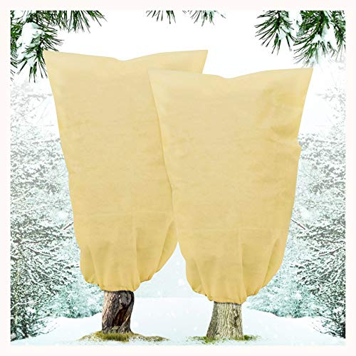 """2 Pack Plant Covers Freeze Protection for Winter, 31""""×39"""" Upgraded Thickness Outdoor Plant Blanket Frost with Drawstring, Plant Warming Cover for Shrub and Trees"""