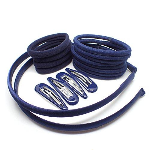 18 accesorios femeninos para el pelo. Color azul marino, rojo, verde, azul real, negro y burdeos Diademas, horquillas para el pelo, pasadores y gomas elásticas (azul marino)