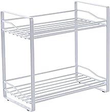 Wrought Iron Double-Layer Kitchen Shelf • Kitchen Countertop Spice Rack • Spice Jar Storage Rack for Kitchen, Storage