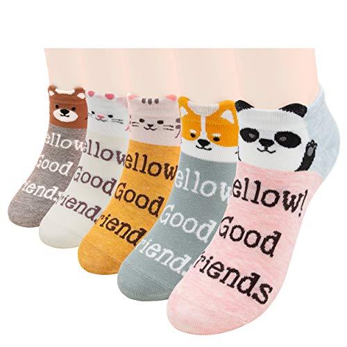 DarkCom Süße Cartoon Tier Damen Socken, 5 Paar Brief Neuheit Interessante Socken Katze Hund Panda Muster Socken, Weiche Atmungsaktive Baumwolle Mädchen Socken (Grau, Cremefarben, Orange, Pink, Türkis)