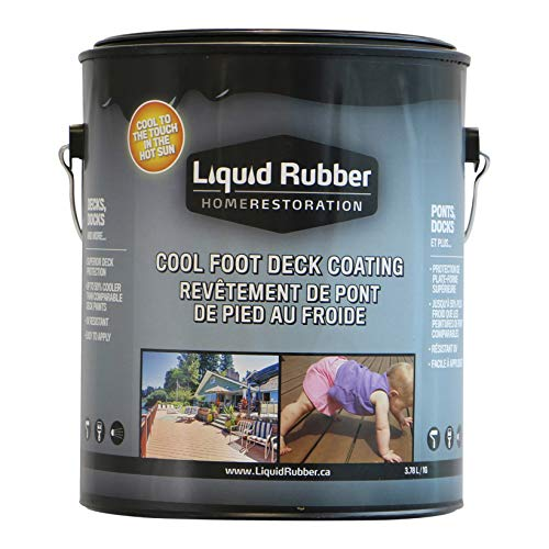 Liquid Rubber Cool Foot Deck and Dock Coating - Solar Protection Deck Paint, Non-Toxic Multi-Surface Decking Sealant, Easy to Apply, Misty Gray, 1 Gallon