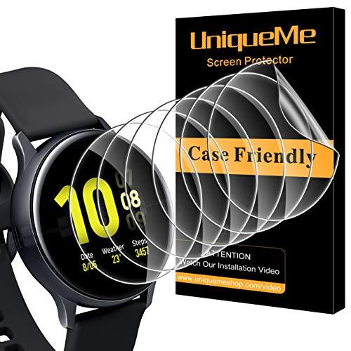 UniqueMe [6 Pack Pellicola Protettiva per Samsung Galaxy Watch Active 2 44mm Pellicola, [Bubble-Free] [Film Flessibile] Soft HD Clear Anti-Scratch [Garanzia sui sostituzioni a Vita]