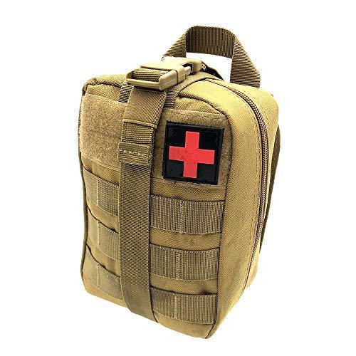 Winbang Kit médical Tactique, Trousse de Secours Tactical Molle Sac de Poche EMT Rip-Away IFAK Medical pour Situation Tactique d'urgence (Kaki)