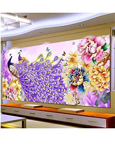5D DIY Kit de Pintura de Diamante Taladro Completo Adultos/Niños, Flor de pavo real Bordado Diamond Painting Punto de Cruz Mosaico Artística, para decor de la pared del hogar Square drill,30x60cm