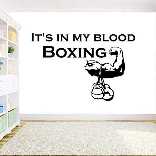 Boxing Art Wandtattoo Zitat ist mein Blut Fitnessstudio Zimmer Schlafzimmer Dekoration Vinyl Wandaufkleber42x65cm