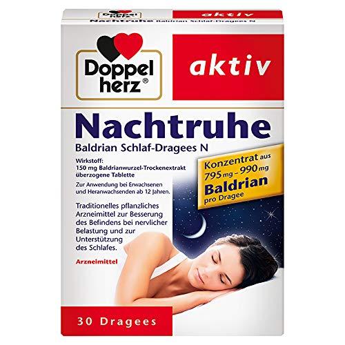 Doppelherz Nachtruhe Baldrian Schlaf-Dragees N – Zur Verbesserung des Befindens bei nervlicher Belastung und zur Unterstützung des Schlafes – 30 Dragees