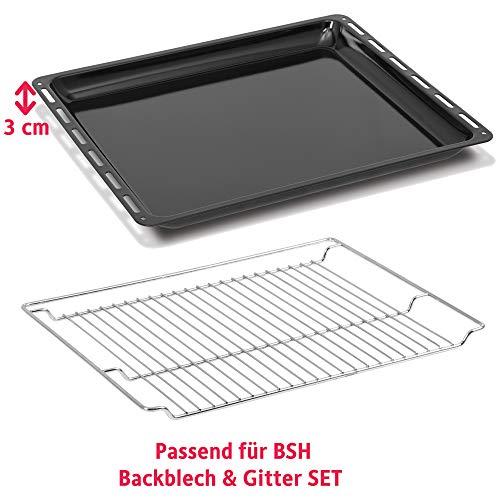 ICQN Bosch Siemens Neff Constructa Set Backblech Grillrost für Backofen | Backofenrost und Backblech Set | Gitter Backblech Set | Bachblech 455 x 377 x 30mm | Gitter 465 x 375 x 30mm