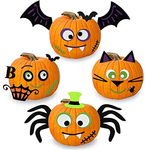 3D Fieltro Pegatinas Calabaza de Halloween,Manualidades Halloween Kit de Calabaza, Suministros para Hallowen Fiestas
