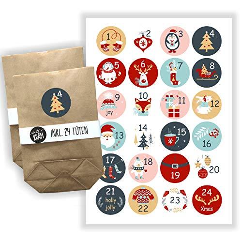 Watt n KRAM Adventskalender zum Befüllen | Sticker + 24 Tüten | viele Motive | selber Machen/basteln (Bunt 1)
