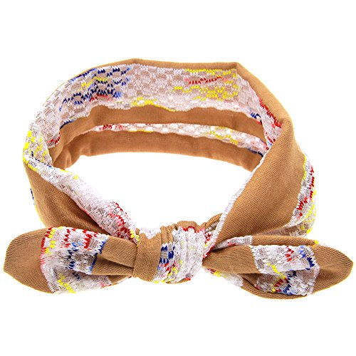 Fdit Knot Headband for Baby Girls Cute Bow Hair Band Fashionable Toddle Kids Headwear Summer Lace Rabbit Ears Wrap Accessory(Brown)