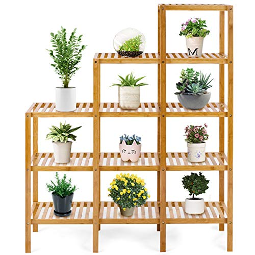 COSTWAY Bamboo Shelf Bathroom Multifunctional 5-Tier Bamboo Plant Stand Storage Organizer Rack Plant Display Stand with Several Storage Cabinet