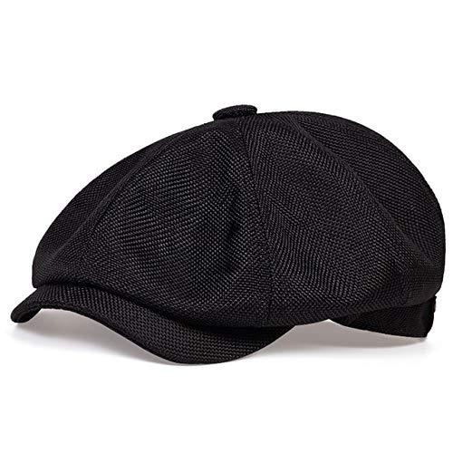 Sombrero de Vendedor de periódicos Informal de los nuevos Hombres Sombrero de Boina Retro de Primavera y otoño Sombreros Casuales Salvajes Unisex Gorra Octagonal Salvaje-Black-56-62CM