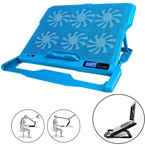 Laptop Kühler, Tragbar Sechs Geschwindigkeiten Cooling Pad LCD Bildschirm Notebook Laptop Kühler für Das Home Office Laptop Cooler (Color : Blue)