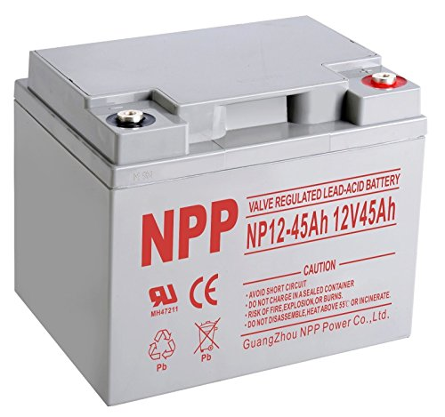NPPOWER NP12-45Ah AGM Deep Cycle Sealed Lead Acid 12V 45 Ah Rechargeable Battery with Button terminals