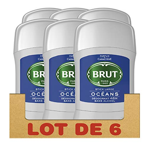 Brut Déodorant Homme Stick Océans Sans Alcool Protection 48h - Lot de 6 x 100 ml
