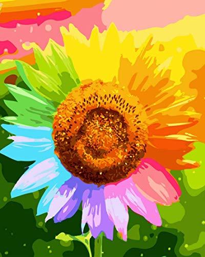 Bimkole DIY Paint by Numbers Kit Ölgemälde Sonnenblume Blume Malen Nach Zahlen Erwachsene, Acrylfarbe Anfänger Zeichnen Malen Mit Pinseln Mauer Für Home Office Wandkunst Dekor 40 * 50 cm