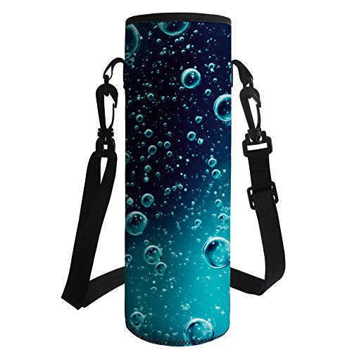 HUGS IDEA Waterdrop Print Water Bottle Carrier Holder Sleeve Neoprene Insulated Bottle Cover Bag