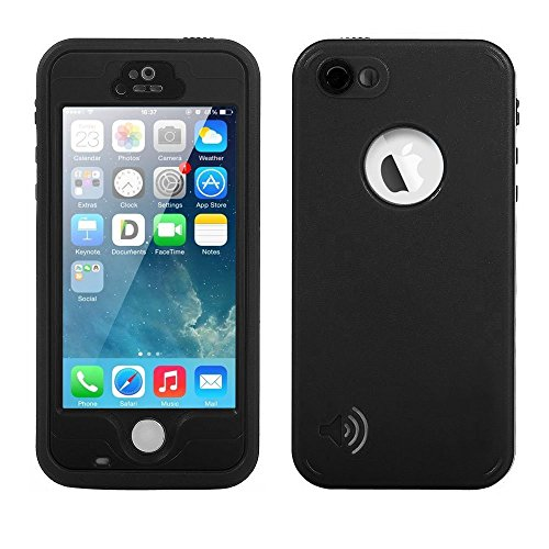 iPhone 5S/5/SE Waterproof Case,Mangix Underwater, Dust Proof,Shockproof Case with Touched Transparent Screen Protector,Protective Cover Case with 3.5mm AUX Cable for iPhone 5S/SE (Black)