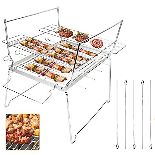 Achort Barbecue Griglia a Carbone Professionale per 5-10 Persone, Barbecue Carbone Barbecue Pieghevole per BBQ Utensile BBQ Grill, Giardino Terrazza Campeggio Picnic Riunione di Famiglia