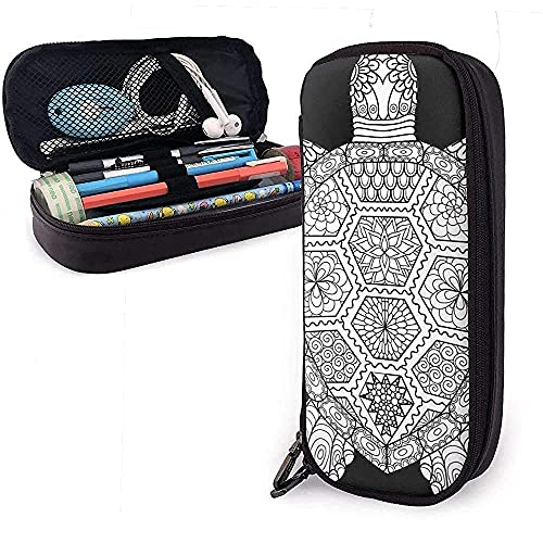 Estuche de piel de tortuga zen para lápices, bolsa de papelería, bolsa de maquillaje, bolsa de cosméticos de gran capacidad