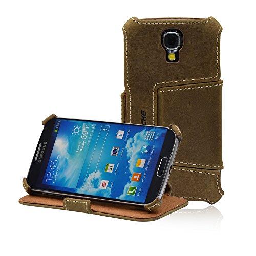 Leicke Manna - Custodia per Samsung Galaxy S4 i9500 e i9505 in Vera Pelle Vellutata Western, colore: Marrone