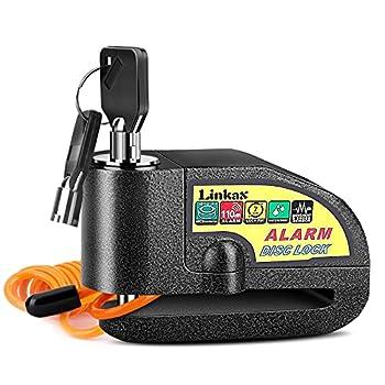 Linkax Bloc Disque Alarme Antivol Moto Bloque Disque Scooter Disc Lock avec Alarme de 110db,2Clés,1.5m Câble Antivol,1 Sac de Bloc Disque Alarme pour Moto/Vélo/Scooter (Noir)