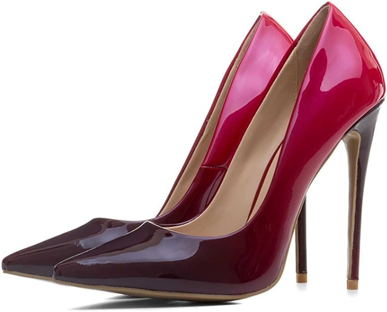 Themost Womens Patent Leather Closed Pointed Toe Bow Stiletto High Heels Pumps Multi color