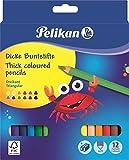 Pelikan 700160 Jumbo - Matite Colorate Triangolari con Temperino Omaggio, Confezione da 12 Pezzi, Kit Scuola