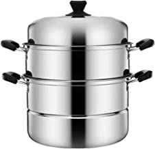 Minkissy Stainless Steel Steam Pot, Multipurpose Cookware 3 Tier Steamer Pot for Cooking Steaming (26 CM)