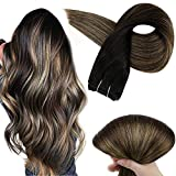 Full Shine Human Hair Weft 22 Inch Weave In Extensions Balayage Color Sew In Weft, Color 1B Off Black Fading to 6 Chestnut Brown and 27 Honey Blonde Highlighted Remy Hair Bundles 100 Gram