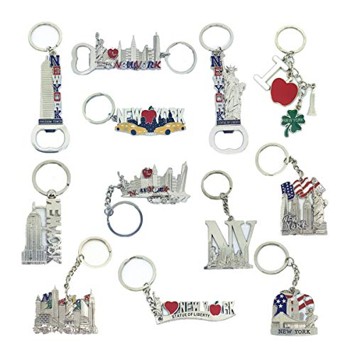 12 Pack Silver NYC Souvenir Collection New York Metal Keychain Ring Bundle Bulk Includes Empire State, Freedom Tower, Statue Of Liberty, USA Flag,NY Cab, Apple, Bottle Opener too And More