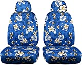 Totally Covers Hawaiian Print Car Seat Covers w 2 Separate Headrest Covers: Blue w Flowers - Semi-Custom Fit - Front - Will Make Fit Any Car/Truck/Van/RV/SUV (6 Prints)