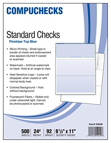 Business Voucher Check Stock - 500 Sheets, Check on Top, Blue Pinstripe