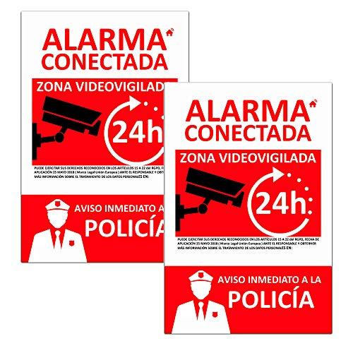 PACK 2 Cartels de Alarma Conectada de PVC expandido de 3mm A5 (21x15). Resistente al Intemperie y al fuego
