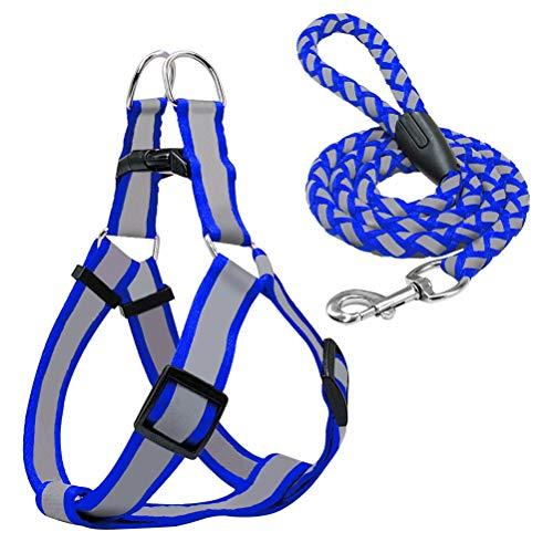 Feidaeu Arnés para Mascotas Cables de Cuerda Conjunto Ajustable Reflectante Cómodo y Transpirable Nylon para Perros pequeños Medianos Rojo Negro Azul