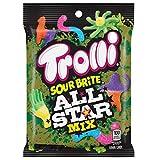 Trolli (1) Bag Sour Brite All Star Mix Gummi Candy - Crawlers, Sloths, Octopus, Llamas, Tinyhands 3.8 oz