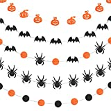 WXJ13 5 Style Halloween Paper Garlands Pumpkin Bat Dot Spider Paper Garland Hanging Decorations, 157 Inches Long, Black and Orange