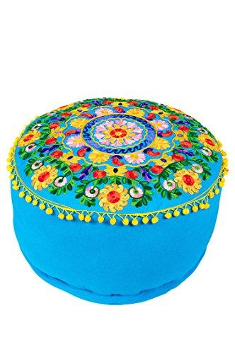 Orientalischer runder Pouf aus Baumwolle 50cm inklusive Füllung | Marokkanisches Sitzkissen Sitzpouf Kissen Jivan -1- ø 50cm Rund | Marokkanischer Hocker Sitzhocker Fusshocker Bestickt
