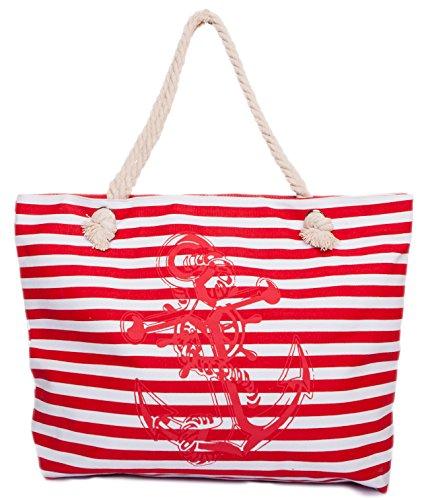 CAPRIUM Strandtasche in Streifen Optik mit Anker, Schultertasche, Shopper, Damen 0009004...