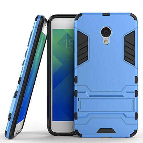 Ougger Handyhülle für Meizu M5 Hülle Schale Tasche, Extreme Schutz Schon [Kickstand] Leicht Armor Hülle Schutz SchutzHülle Hülle Hart PC + Soft TPU Gummi Haut 2in1 Back Gear Rear Blau