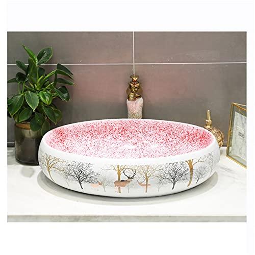 AZYJ Lavabo sobre Encimera Cerámica Oval,Fregadero Piedra Cocina Baño Simplicidad Retro,Lavabo Piedra Lavabo Sanitario Bano Baño WC(Size:57 * 37 * 15CM,Color:Oval)