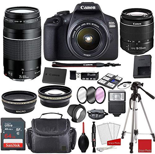 Canon EOS 2000D (Rebel T7) DSLR with EF-S 18-55mm III Lens & 75-300mm III Lens Bundle + Sandisk 64GB Memory + Professional Accessory Bundle