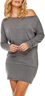 Dykmod Vestido corto para mujer, túnica, murciélago, suelto, tallas 38, 40, 42, 44, 46, 48