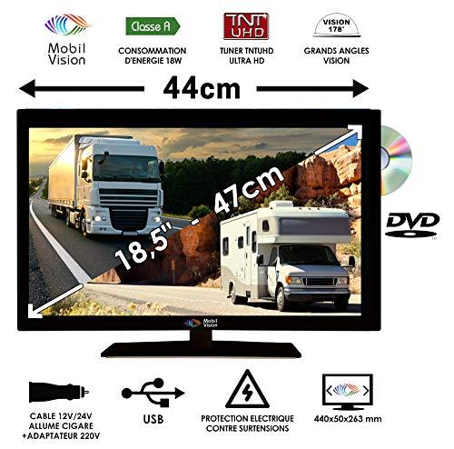 Combine TV/DVD pour Camping Car Camion Fourgon 18,5' 47cm 12V 24V - MOBILVISION TVWS19DVD
