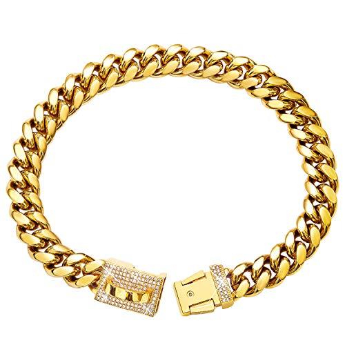 Gold Dog Chain Collar Metal Choke Collar with Cubic Zirconia Design Secure Buckle, 18K Cuban Link Chain Heavy Duty Chew Proof Walking Collar for American Pitbull German Shepherd (14MM, 10')